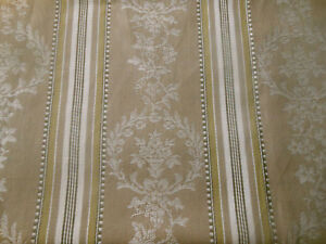 Antique-French-Floral-Wreath-Urn-Cartouche-Stripe-Ticking-Fabric-Tan-Olive