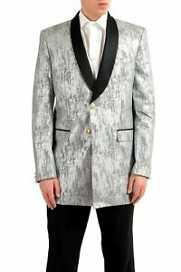 online store 0a84d ce9c7 Dettagli su Versace versus Uomo Argento Smoking Blazer a Due Bottoni Sport  Giacca Size 38 40