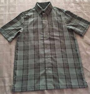 George-Men-039-s-Short-Sleeve-Green-Black-Stripe-Button-Down-Shirt-Size-S-34-36