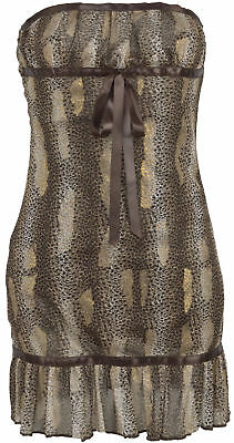 Zartes EMPIRE Vintage PIN UP Chiffon LEOPARD Bandeau KLEID ...