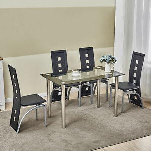 5 Piece Glass White Dining Table Set 4 Chairs Room Kitchen Breakfast ...