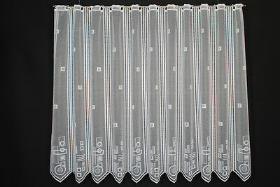 18,5 cm breite Scheibengardine geometrische Muster 120 cm hoch