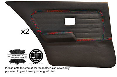 RED STITCH 2X REAR FULL DOOR CARD SKIN COVERS FITS BMW 3 SERIES E30 COUPE 3DR