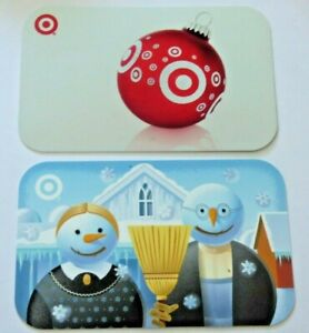 Target-Gift-Card-LOT-of-2-American-Gothic-Farmer-Snowmen-2006-2007-No-Value