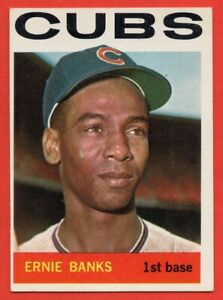 1964-Topps-55-Ernie-Banks-EX-EX-WRINKLE-Hall-of-Fame-Chicago-Cubs-FREE-SHIP