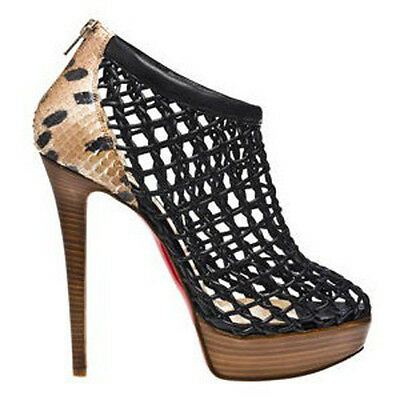 90bc2b03b32 $1785 NEW Christian Louboutin COUSSIN 140 Python Leopard Black Boots Shoes  38   eBay