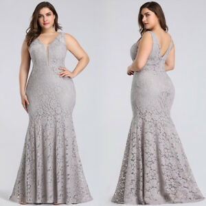 Ever-Pretty Plus Size Maxi Lace Evening Gowns Mermaid Formal Party ...