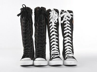 EMO Gothic PUNK Women Rock Boot Girls Shoes Sneaker Knee High Zip Laces Up NEW