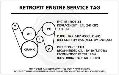 2004 ls1 5 7l gto retrofit engine service tag belt routing diagram decal ebay  2004 gto belt diagram wiring diagram