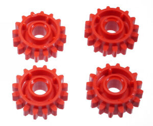 LEGO-Technik-4-x-Zahnrad-rot-mit-Kupplung-zweiseitig-16-Zaehne-18946-NEUWARE