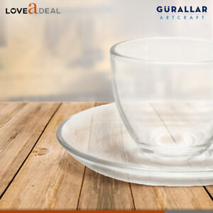 225ml-Clear-Glass-Cup-amp-Base-Saucer-Set-Hot-Tea-Coffee-Espresso-Cappuccino-12pc