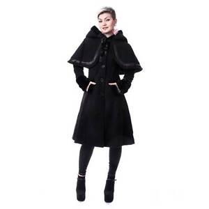 Jacket Riding Cape Faux Coat Black Elena Hood Winter Ladies Gothic Vixxsin  Fur wHzqc 81407c94c67