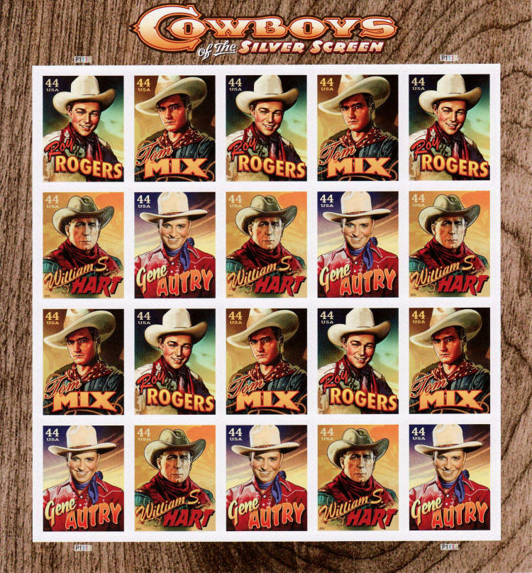 2010 44c Cowboys of the Silver Screen, Sheet of 20 Scot