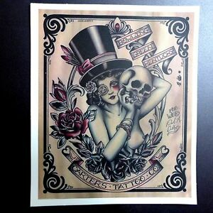 Vintage Poster Lady Skull Sticker Skateboard