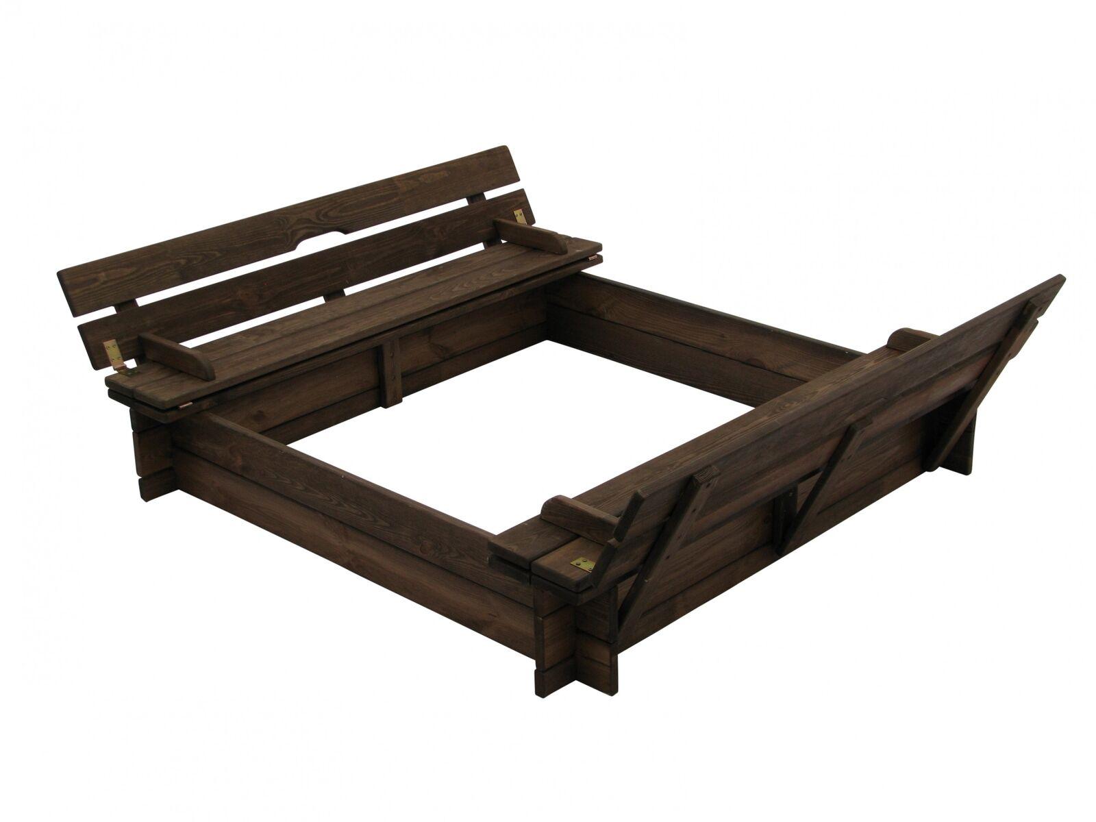 Sandkasten aus Holz mit Deckel und Bänken B118 x T118 x H120 cm