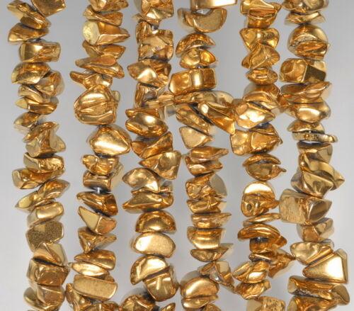 "6X3-10X5MM GOLD HEMATITE GEMSTONE PEBBLE CHIPS 6X3-10X5MM LOOSE BEADS 7-8/"""