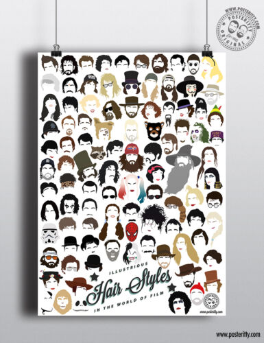 ICONIC FILM STARS Minimalist Hair Poster Minimal Print by Posteritty Movie Heads