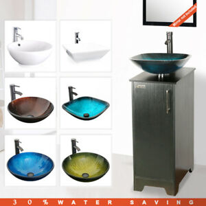 14 Eclife Bathroom Vanity Cabinet W Top Glass Vessel Sink Ceramic