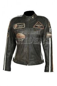 Biker Rocker Veste Retro Corse Cafe Racer Veste En Cuir Moto Blouson Motard