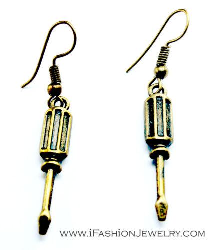 Tournevis Outil Drop Dangle Boucles d/'oreilles Hip Bronze Brass Tone Tournevis Bijoux