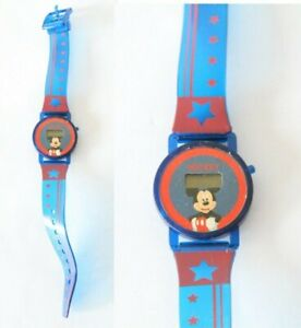 FOR-PARTS-Vintage-90s-Seiko-SII-Mickey-Mouse-Disney-Digital-Watch-Red-Blue-Stars