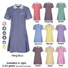 Ages 3-20 Girls School Gingham Dress Girls School Summer Dress Check Pleated