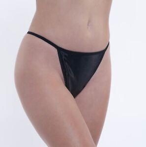 Second Skin Satin V-String Thong · Black · 2XL/9