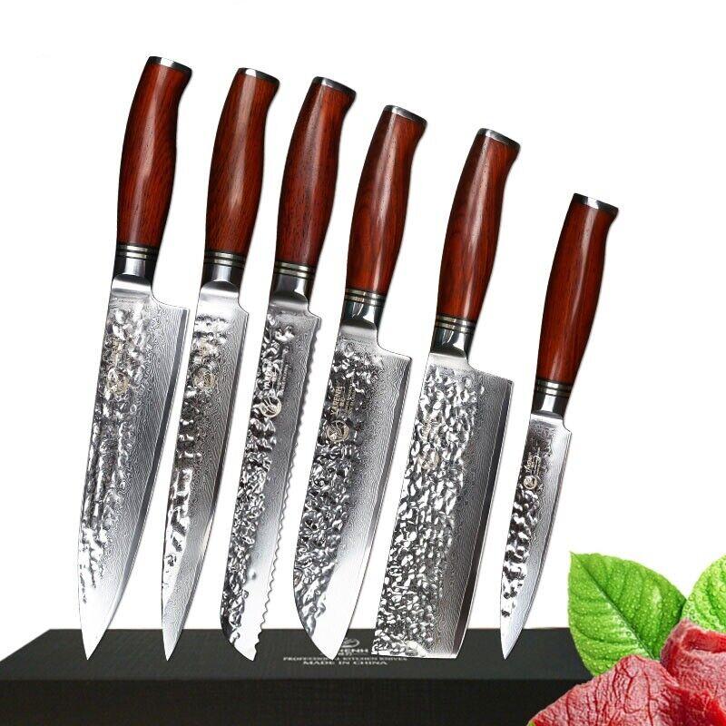 Lot de Couteaux 73 couches d'acier Damas chef couteaux Santoku Nakiri Cleaver Gyuto bois