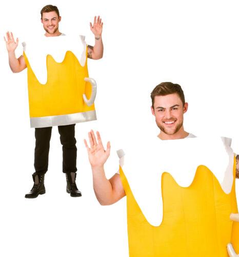 Beer mug fancy dress costume drôle stag do nuit blague homme adulte tenue jaune