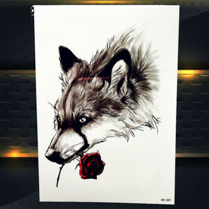 Sexy Wolf With Rose Tattoo Temporary Body Arm Art 3d Tattoo Sticker