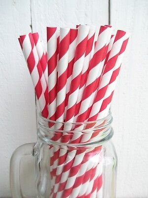 50 Red and White Striped Paper Drinking Straws Made in the USA Aardvark