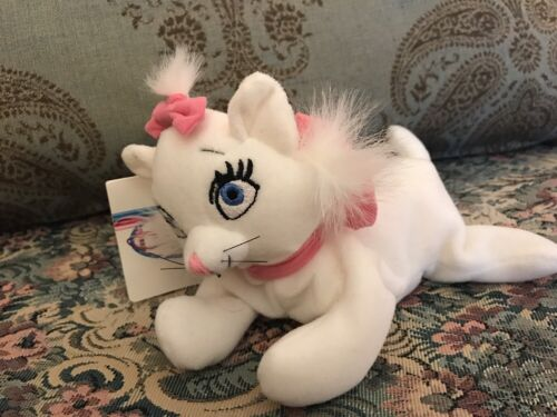"NEW Disney Store Aristocats Marie Kitten Cat Mini beanbag plush 7"" #1S"