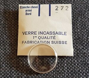 Verre-de-montre-suisse-arme-bague-plexi-diametre-272-Watch-crystal-vintage-NOS