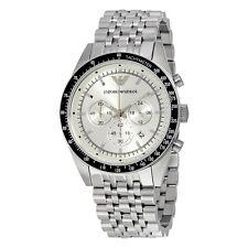 Nueva marca EMPORIO ARMANI Acero Inoxidable Plata Cuadrante Reloj para hombres AR6073