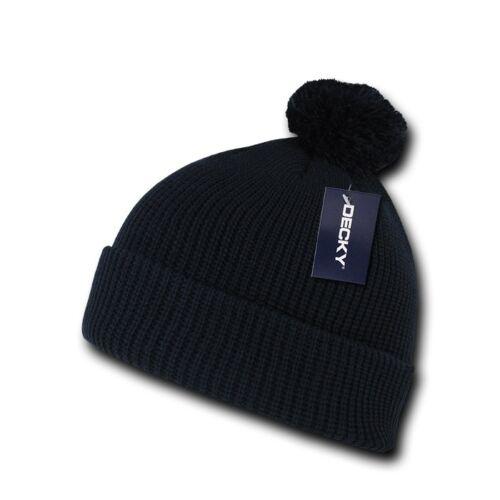 Navy Blue Pom Pom Ski Snowboard Winter Skull Warm Cuffed Long Knit Beanie Hat