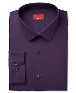 NWT-95-ALFANI-Men-SLIM-FIT-STRETCH-PURPLE-LONG-SLEEVE-DRESS-SHIRT-15-15-5-34-35