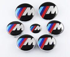 7pcs New ///M Hood Trunk Steering Emblem Badge Wheel Center Hub Caps for BMW