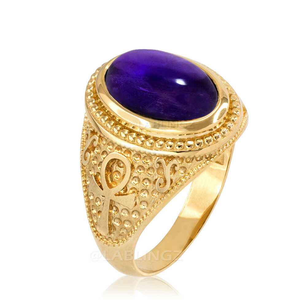 10K Yellow gold Egyptian Ankh Purple Amethyst Cabochon Ring