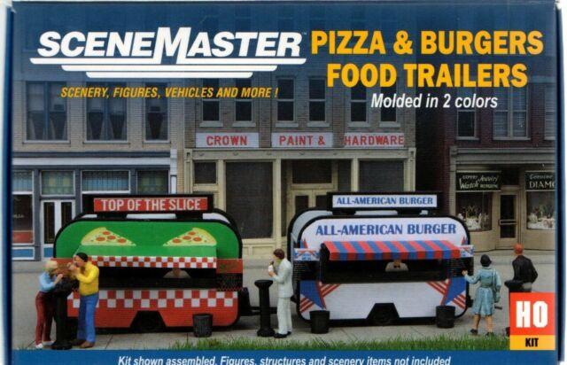 2903 Walthers SceneMaster Pizza /& Hamburger Food Truck Trailers Kit  HO Scale