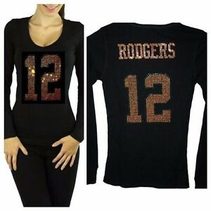 new arrival 98699 720aa Details about Womens Bling Green Bay Packers Clay Matthews or Aaron Rodgers  Jersey Sparkle Tee