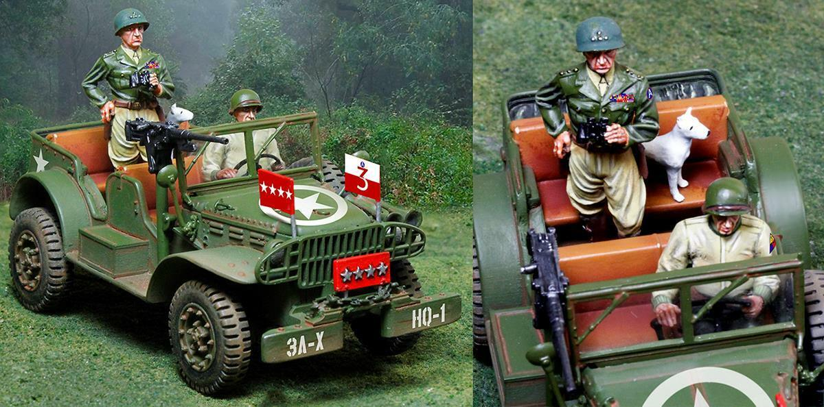Collectors Showcase - CS00914 - Patton Jeep with Patton and Willy - WWII