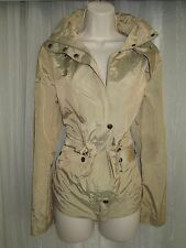 COLE HAAN! Womens M 8 10 Tan Beige Hooded Packable Raincoat Jacket Windbreaker!