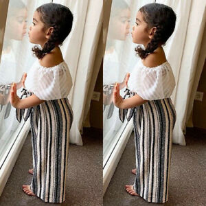 US-Toddler-Baby-Girl-Kid-Off-Shoulder-Tops-Long-Pants-2pcs-Summer-Clothes-Outfit