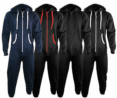 Unisex Mens Womens Plain and Contrast Onesie – All in one Jumpsuit