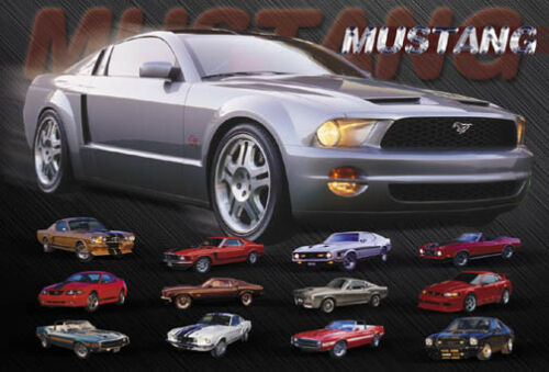 Ford Mustang Evolution Poster First to Fifth Generation American Muscle Cars