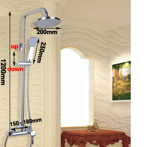 8 Inch Rain Shower Water ABS Handheld Faucet Set Brass Mixer Tap Wall Mounted