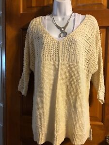 Nice Ladies Billabong Cream Open Weave Pullover Sweater Medium Ebay