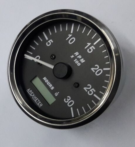 Tachometer With LCD Hourmeter 0-3000 RPM Chrome Bezel 80mm Mounting