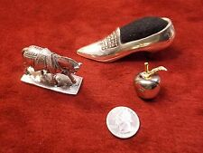 3 VTG SILVERPLATED ITEMS, SHOE PIN CUSHION, HORSE PAPERWEIGHT, APPLE CARD HOLDER