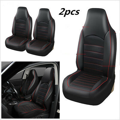 2PCS Car Synthetic Leather Front 2 Seat Covers Accessories Seat Bucket Protector